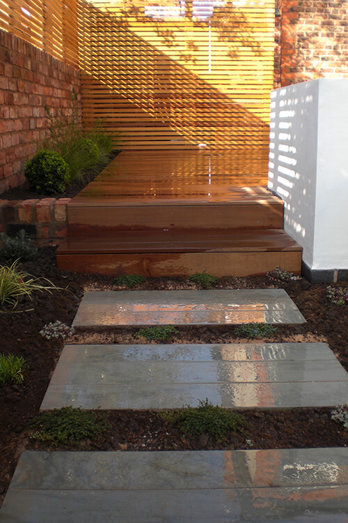 Contemporary Courtyard Chester - Sawn Sandstone Plank Style Paving