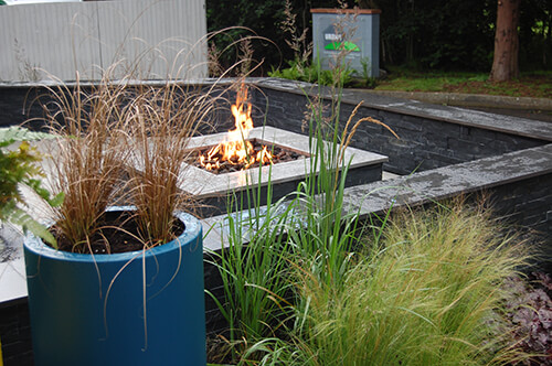 Outdoor Living - Firepit with Plants