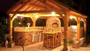 outdoor kitchen building at night