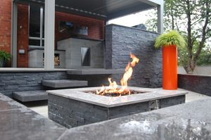 outdoor living urban office firepit