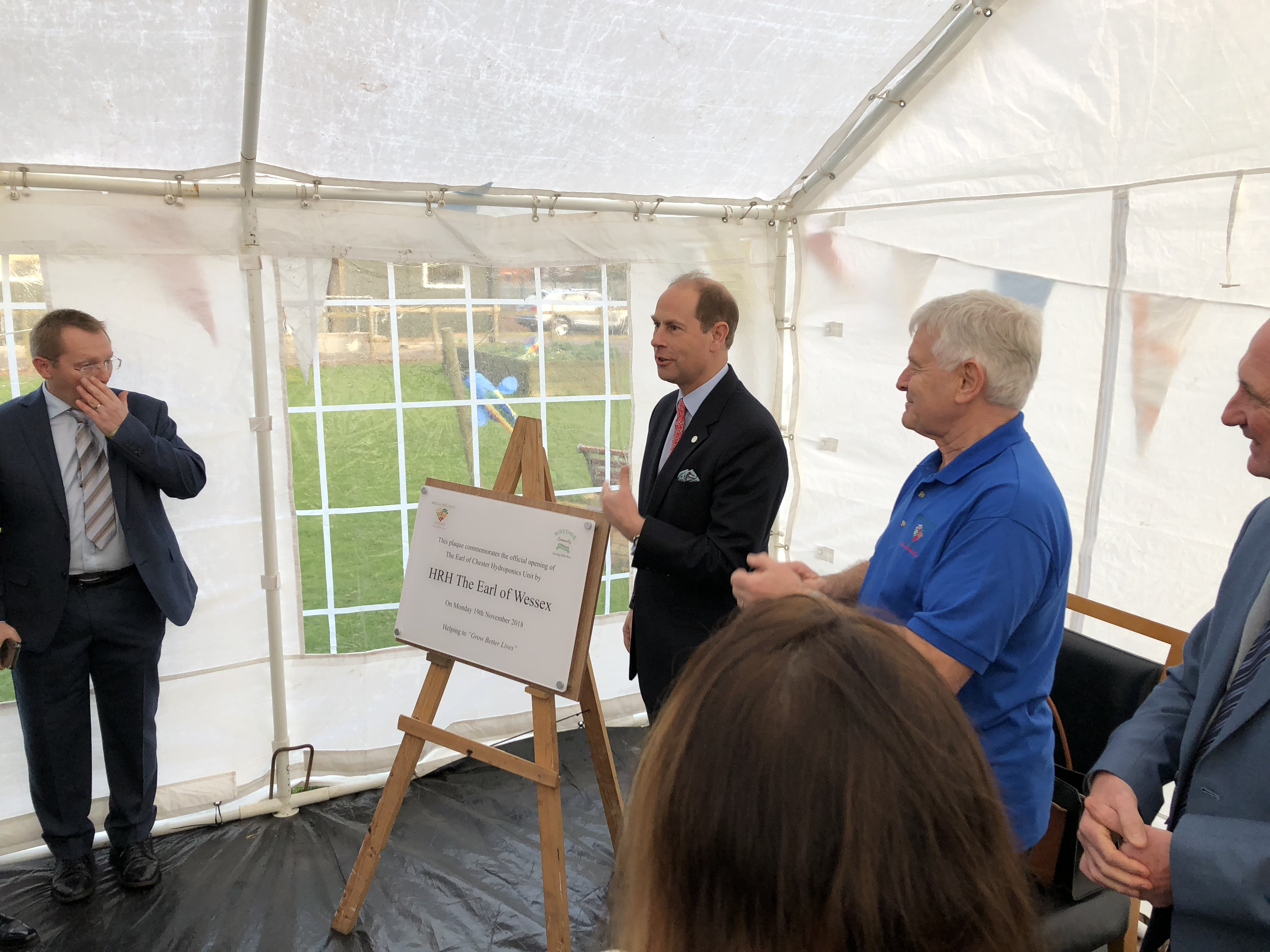 Prince Edward, Earl of Wessex at the Bridge Community Farm opening of their new Hydroponics Unit